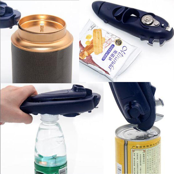 Manual- 8 in 1 Multifunctional Stainless Steel Manual Can Opener, Bottle Opener with Rotary Handle