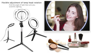 16CM Ring Light Dimmable Photography Photo Studio Light for Smartphone with Tripod Phone Holder
