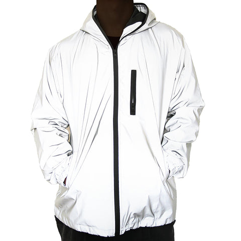 Men Reflective Coat Hooded Windbreaker Jacket