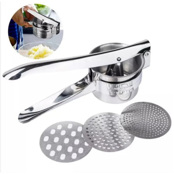 Stainless Steel Manual Potatoes Masher  with 3 Interchangeable Discs