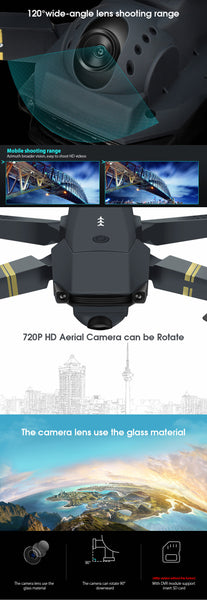 E58 WIFI With Wide Angle HD 1080P/720P/480P Camera Hight Hold Mode Foldable Arm RC Quadcopter Drone