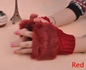 Women Ladies Mittens Fingerless Wrist Knitted Wool Winter Warm Fur Gloves WFEU