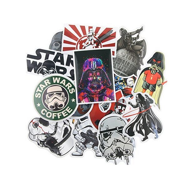 25pcs Cartoon Vintage Retro Pop Art Graffiti Super Cool Star wars Stickers Best for Laptop Macbook Skateboard Snowboard Luggage Suitcase iPhone Car Bike Bumper Stickers Bomb Pack