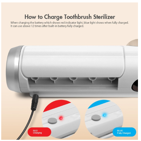UV Light Toothbrush Sterilizer Box Ultraviolet Antibacterial USB Toothbrush Cleaner Holder