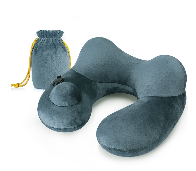Inflatable Travel Pillow with Drawstring Bag