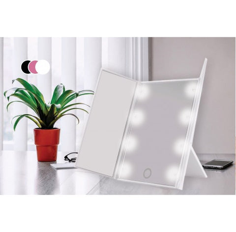 Tri-Fold LED Makeup Mirror -3 Colours