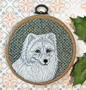 Arctic fox winter decoration