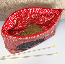 Load image into Gallery viewer, Badger project bag made with red Harris Tweed
