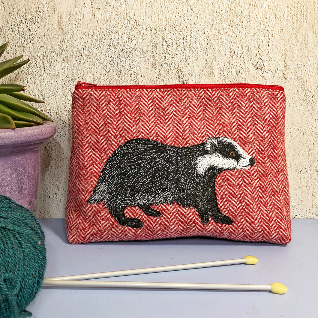 Badger project bag made with red Harris Tweed