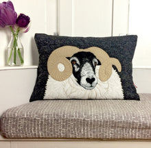 Load image into Gallery viewer, Black faced sheep cushion - made to order