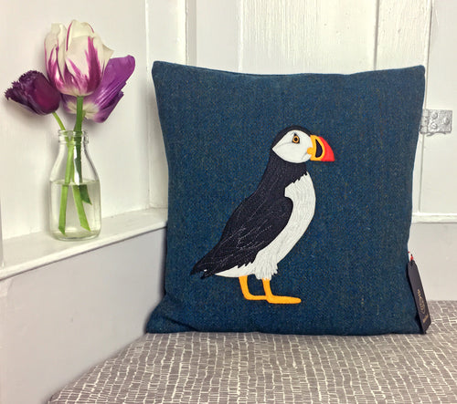 Puffin cushion - made to order