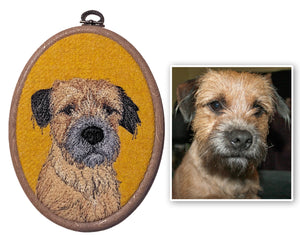 Pet portrait hoop art