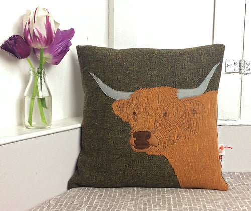 Highland cow cushion - made to order