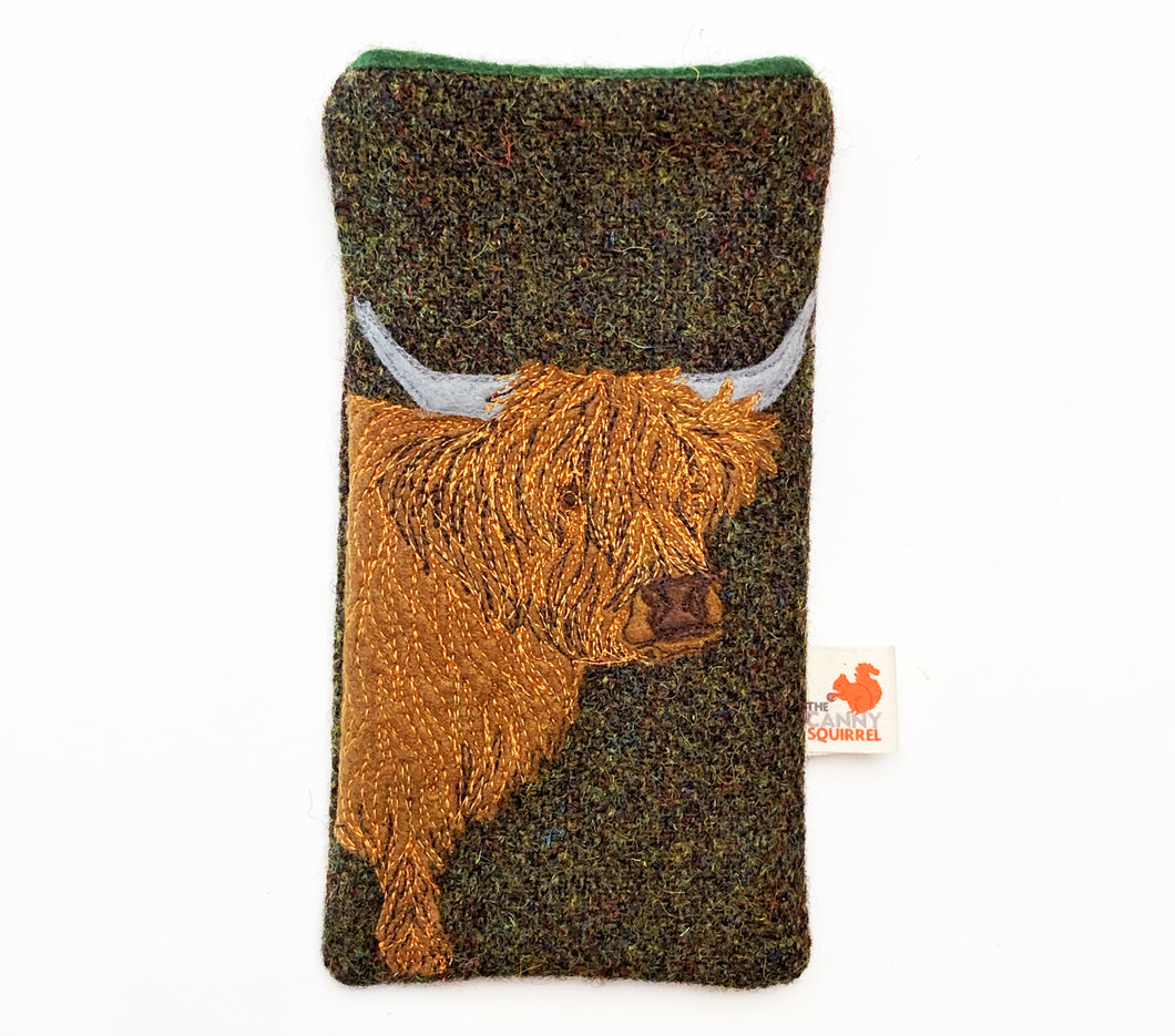 Highland cow phone case - earthy green