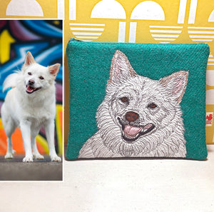 Pet portrait zip pouch - made to order