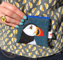 Load image into Gallery viewer, Puffin coin purse - blue Harris Tweed