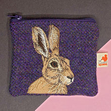 Load image into Gallery viewer, Hare coin purse - purple Harris Tweed