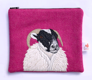 Sheep zip pouch, pink