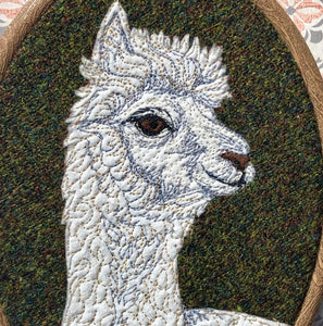 Alpaca hoop art - green