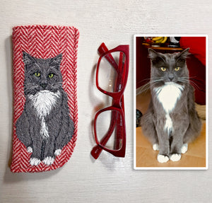 Pet portrait glasses case - made to order