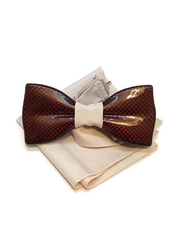 Red mens bow tie from carbon fiber 06_02