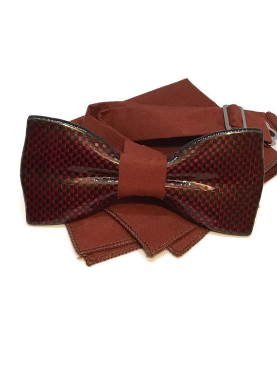 Red mens bow tie from carbon fiber 06_05
