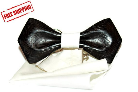 Bow tie. Elegant men's bow tie made in limited edition. Wood bow tie covered by natural oil.