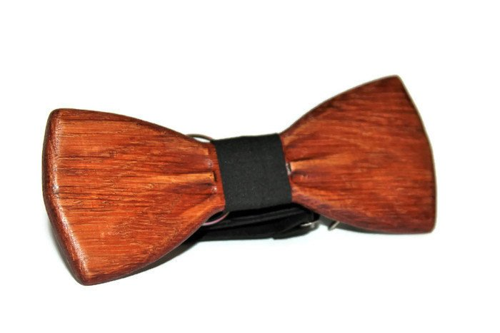 Unisex adjustable wooden bow tie with black strap