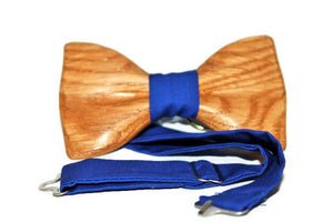 Navy blue bow tie for men made from oak wood