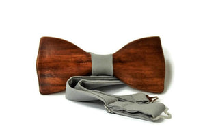 Mens wooden bow tie with pocket square limited edition