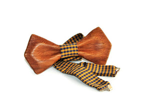 Modern unisex custom bow tie from oak wood