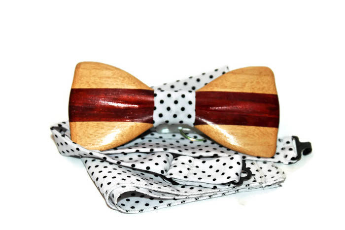 Hand made bow tie with pocket handkerchief. Self tie bow tie. Wood bow ties for wedding.