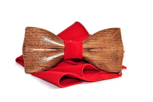 Red bow tie with pocket square and adjastable strap classic wooden form