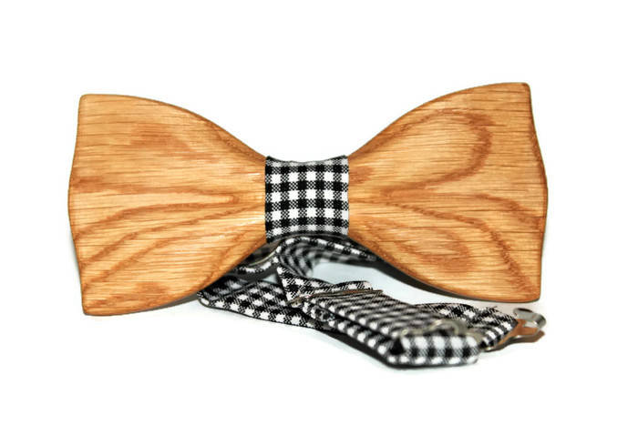 Mens wedding suit bow tie from wood with white white square with black dot