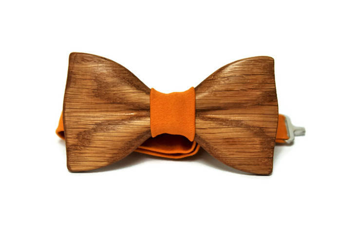 Mens bow tie with pocket square Mens bowties Wooden mens bow ties Brown bow tie from wood with yellow fabric