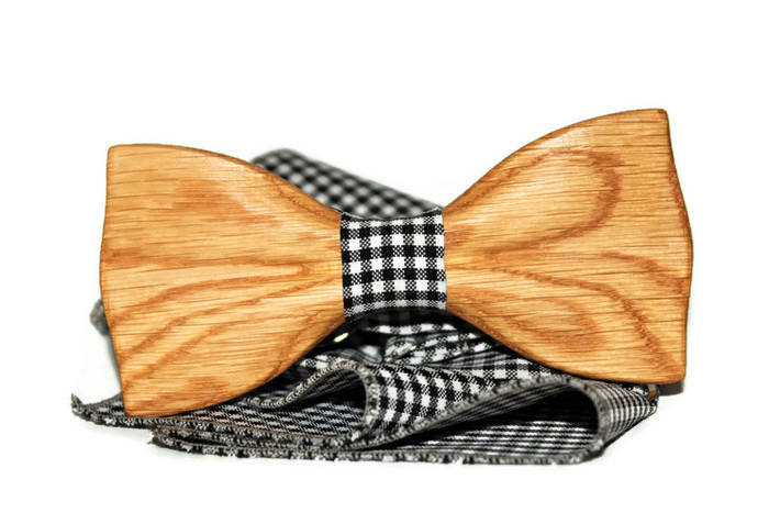 Mens bow tie from wood with white white square with black dot