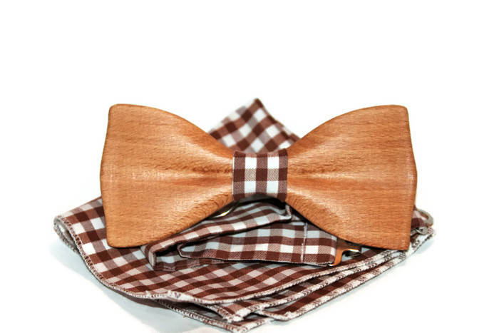 Unique bow tie from beech wood. Wedding bow tie. Mens bow tie handmade.
