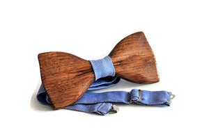 Wooden bow tie in limited edition. Wooden bow ties for friend, men, adult and wedding. Brown bow tie with blue fabric. Men's bow tie.
