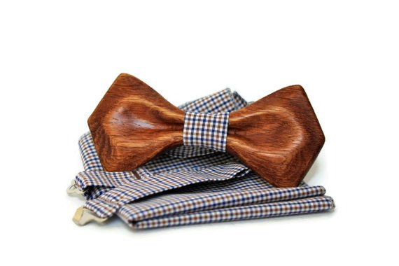 Wooden bowtie. Mens bow tie with pocket square. Wood bow tie. Wooden bow tie. Bow tie.