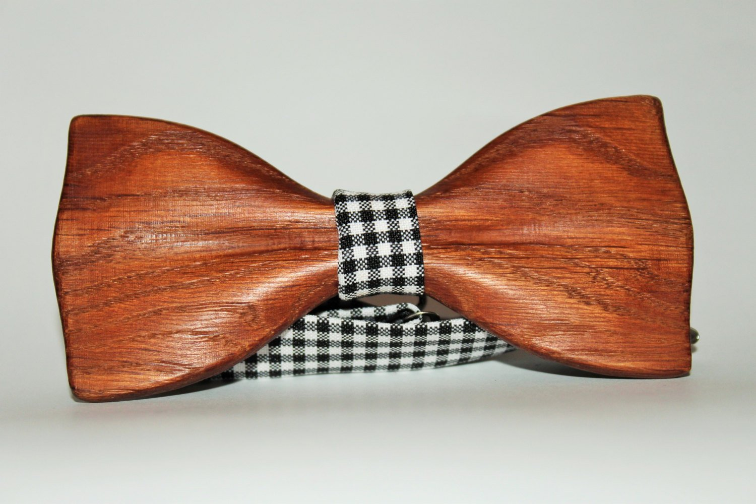 Black bow tie for men from wood with custom fabric