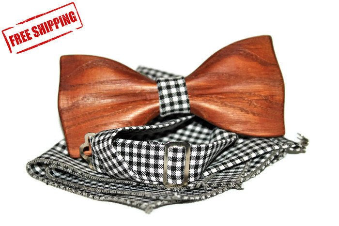 Black bow tie for men from wood
