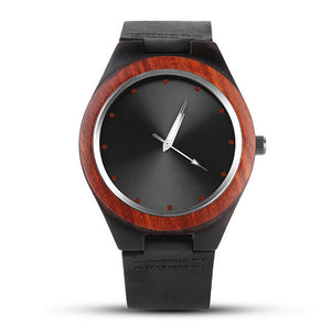 Men's wrist watch made of wood with black leather band