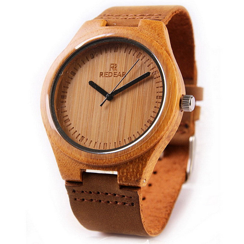 Leather strap brown mens watch made out of wood