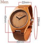 Men leather strap brown watch made out of wood