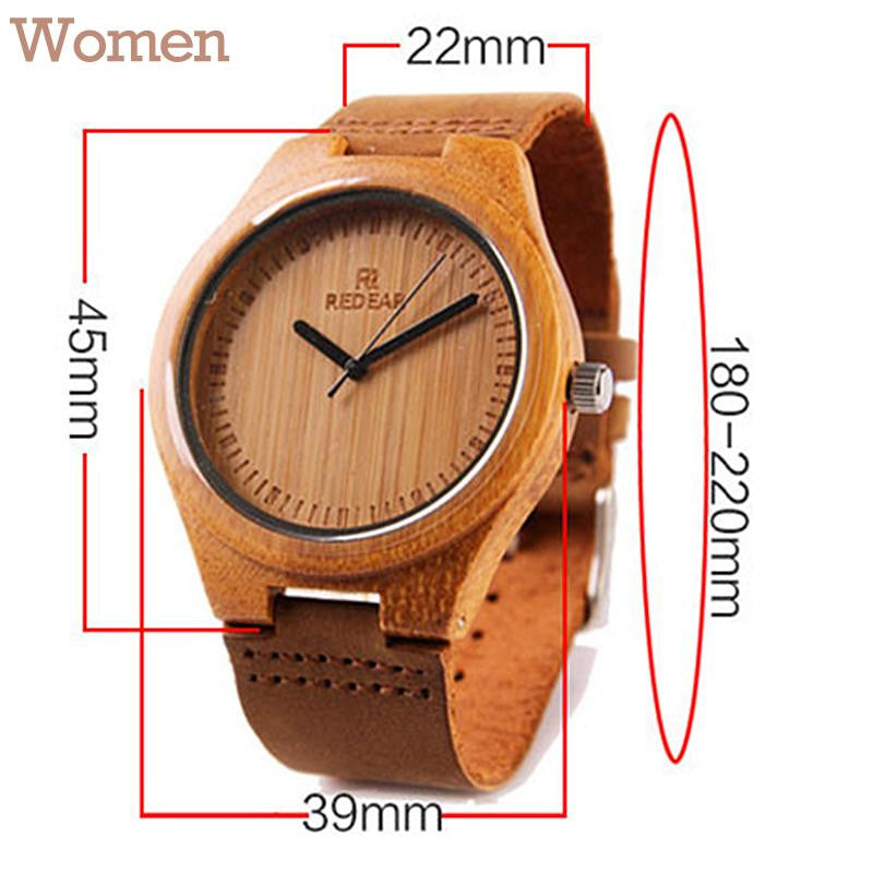 Women leather strap brown watch made out of wood