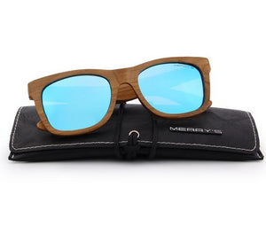 Blue wooden sunglasses UV Protection S5140