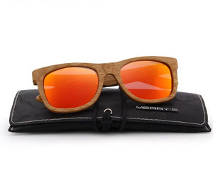 Orange mens wooden sunglasses UV Protection S5140