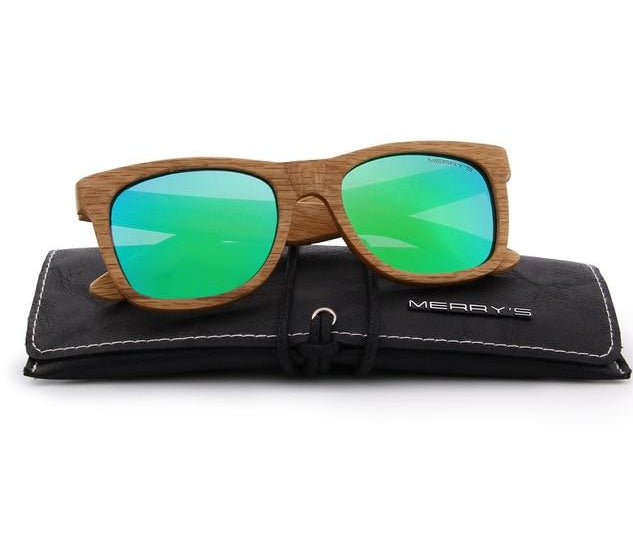 Green wooden sunglasses UV Protection S5140
