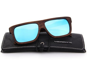 Handcrafted blue wooden sunglasses for men