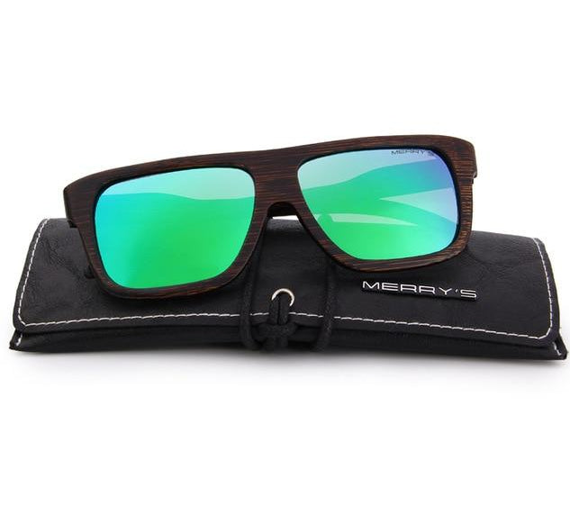 Handcrafted green wooden sunglasses for men
